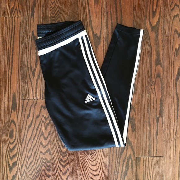 adidas track pants black with white stripe